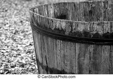 wooden barrel to harvest grapes during the harvest and wine...