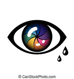 Cyber Eye Icon - Open Cyber Eye Icon with tears