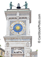 Tower of clock in Place of Freedom, Udine, Italy - The tower...