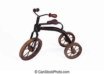 Model tricycle - Vintage model tricycle on isolated...