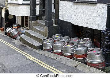 beer kegs in street, Falmouth
