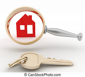 Magnifying glass inspects a home. Concept of search of house...