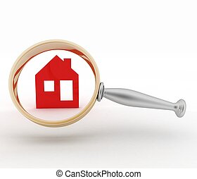 Magnifying glass inspects a home Concept of search of house...