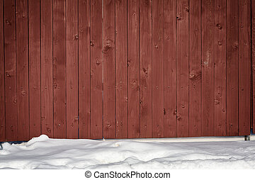 Fence and snow - Brown wooden fence in snow