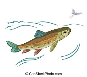 Fish caught ephemera vector illustration