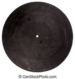 Vintage rubber turntable platter mat back isolated on white...