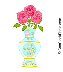 Vase decorated with roses - Vase decorated with a floral...