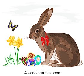 Easter little bunny with daffodils and butterflies vector...