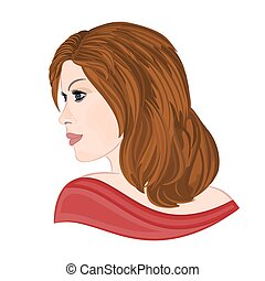 Girl with brown hair elegance portraits vector illustration