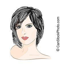 Girl with brown hair elegance portrait vector illustration
