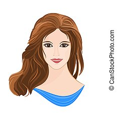 Girl with long brown hair elegance portraits vector...