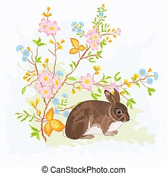 Little rabbit under rosehip bush vector illustration
