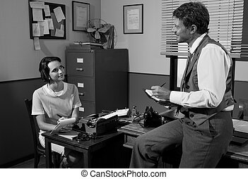 Vintage director and secretary working in the office -...