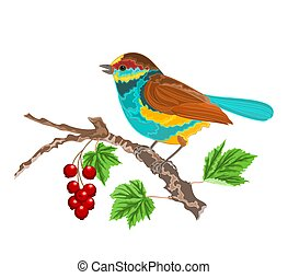 Birdie on the currant with leaves - Birdie on the currant...