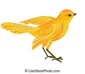 Gold bird in flight vector illustration