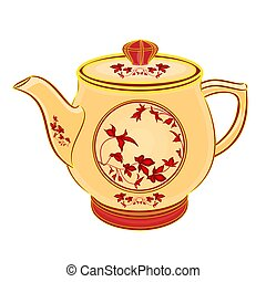 Teapot part of porcelain whit red flowers vector...