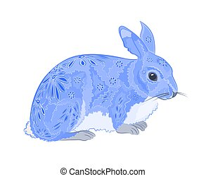 Bunny painted like Easter eggs vec