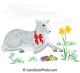 Easter lamb and daffodil vector background