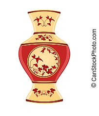 Vase part of porcelain whit red flowers vector illustration