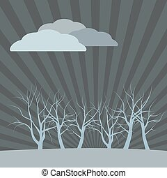 Dark vector landscape with dead trees, clouds in the sky of rays