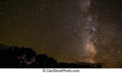 Milky Way Time-lapse - Milky way and moon rise near Lake...