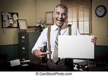 Smiling vintage businessman holding a blank sign - Cheerful...