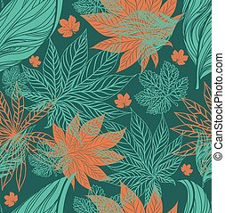 Seamless vintage floral pattern with leafs (From my big...