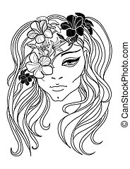 Vector portrait of woman with flower in long hair