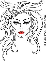 Vector portrait of woman - Vector closeup portrait of woman...