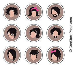 icons hair styling  - Big set of icons hair styling