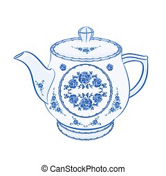 Teapot faience part of porcelain vector illustration
