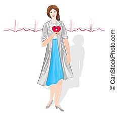Female doctor of Cardiology healthcare professionals vector
