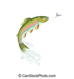 American trout jumps salmon predator vector ilustration