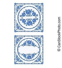 decoration buton faience blue color vintage vector - Faience Colore