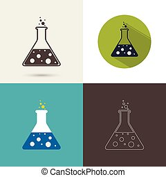 Set of vector icons with chemical flask with reagent The...