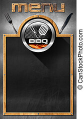 Blackboard for Barbecue Menu - Empty blackboard with wooden...