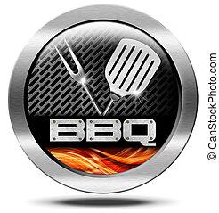 Bbq Symbol - Barbecue Icon - Metallic round barbecue symbol...