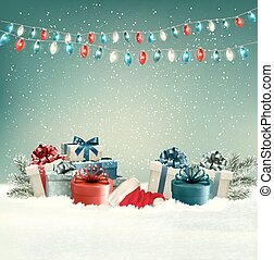 Winter christmas background with gifts and a garland....