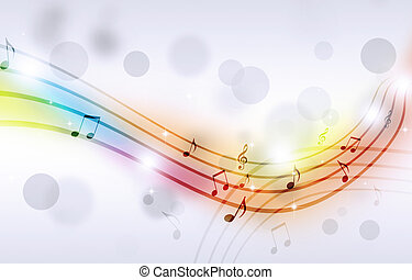 Multicolor Music Notes - abstract party multicolor...