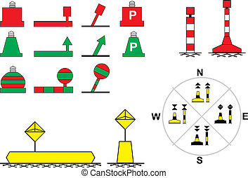 Signs traffic river navigation - Floating buoys, for river...