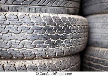 Pilha, de, usado, pneus,