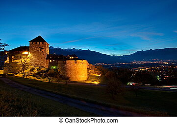 Castle of Vaduz in Liechtenstein at night