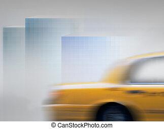 amarillo, taxi, en, confuso, movimiento,