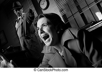 Detective pointing a gun to a terrified woman - Detective...