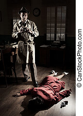 Photographer on crime scene - Photographer with vintage...