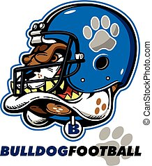 bulldog football mascot with helmet