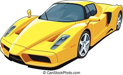 Yellow sports car - Vector isolated yellow sports car on...