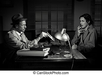 Shocking revelation - Handsome detective at office desk...