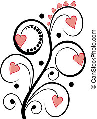 floral hearts - vector illustration of an abstract plant...