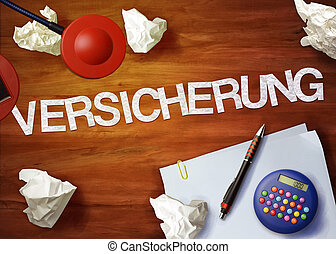 versicherung desktop memo calculator office think organize
